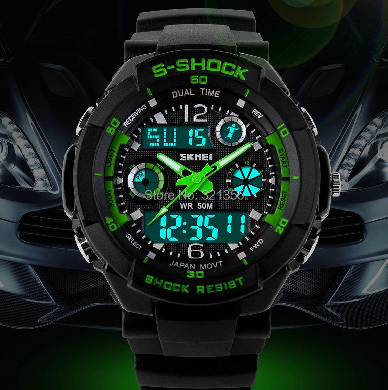 Watches Men S-SHOCK Sports Military Watch Fashion Wristwatches Dual time Digital Analog Quartz LED Watches Relogio Masculino(China (Mainland))