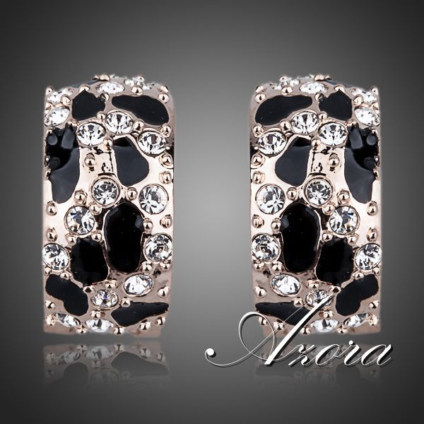 AZORA Brand Design 18K Rose Gold Plated Leopard with Austrian Rhinestones French Clip Earrings TE0068(China (Mainland))