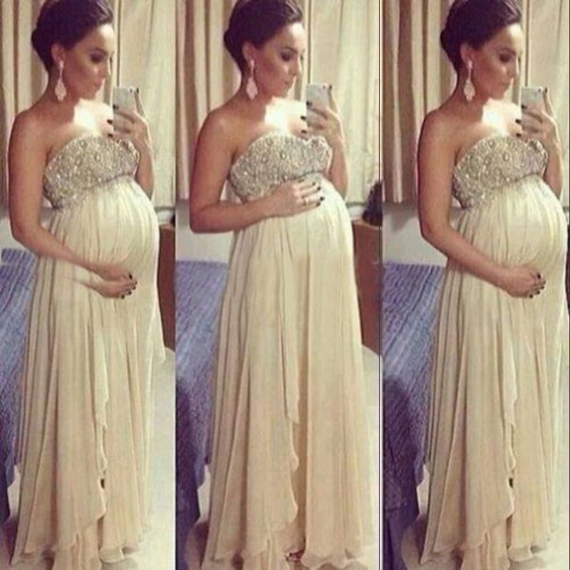 2014 New Fashion Pregnant Women Dresses Strapless Long Chiffon Backless Crystal Sexy Evening Prom Maternity - The Beautiful store