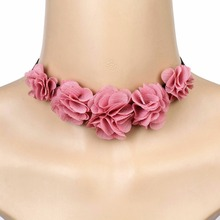 Buy Fashion Jewelry Statement Necklace Boho Women Pink Lace Choker Flower Tassel Pendant Choker Necklace Collares Gothic Steampunk for $1.23 in AliExpress store
