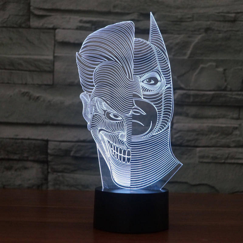 Creative 3D illusion Lamp LED Night Light 3D Two-Face Acrylic Discoloration Colorful Gradient Atmosphere Lamp Novelty Lighting(China (Mainland))