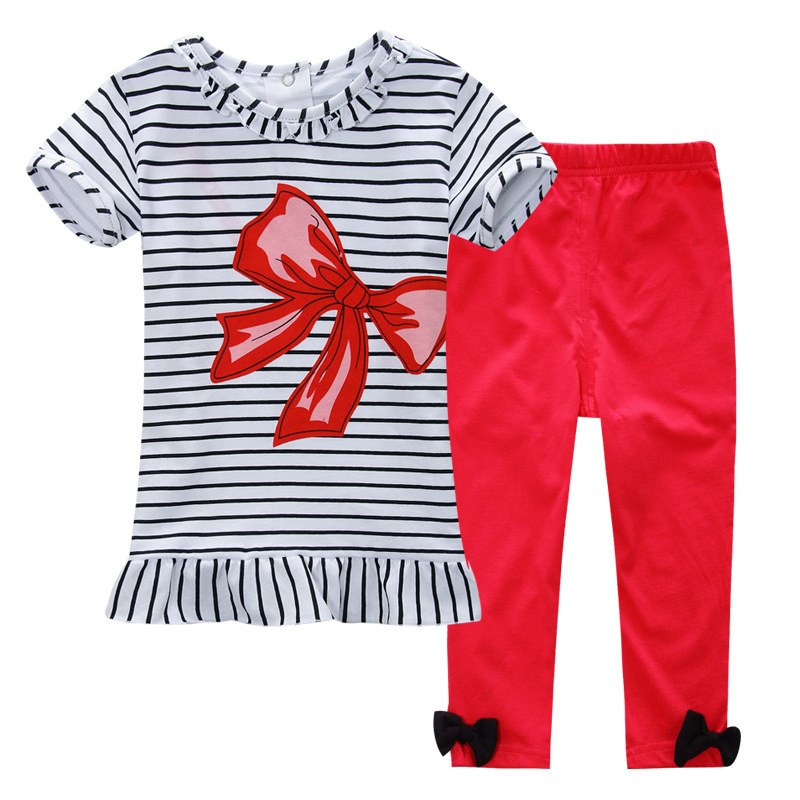 Age 18M 2015 Summer Fashion Baby Girl Clothing Set Kids Clothes Red Bow Striped T-shirt + Pants Roupas Infantis Sport Suits(China (Mainland))