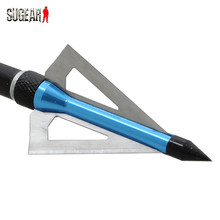 Blue 1 Pcs pack 100 Grain 3 Fixed Blades 2 Inch Cutting Archery Arrowhead Broadhead for