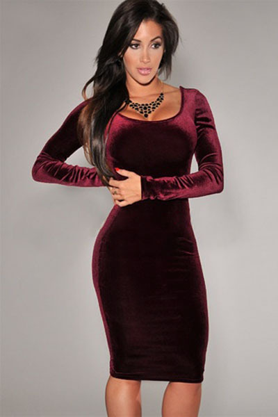 2015 Autumn New Sexy Women Fashion Dress Wine Velvet Midi Dress Party Dresses LC6684(China (Mainland))