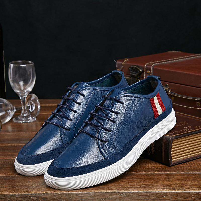 2016 fashion luxury brand mens casual shoes genuine leather high-grade comfortable blue outdoor men shoe for office flats z545(China (Mainland))