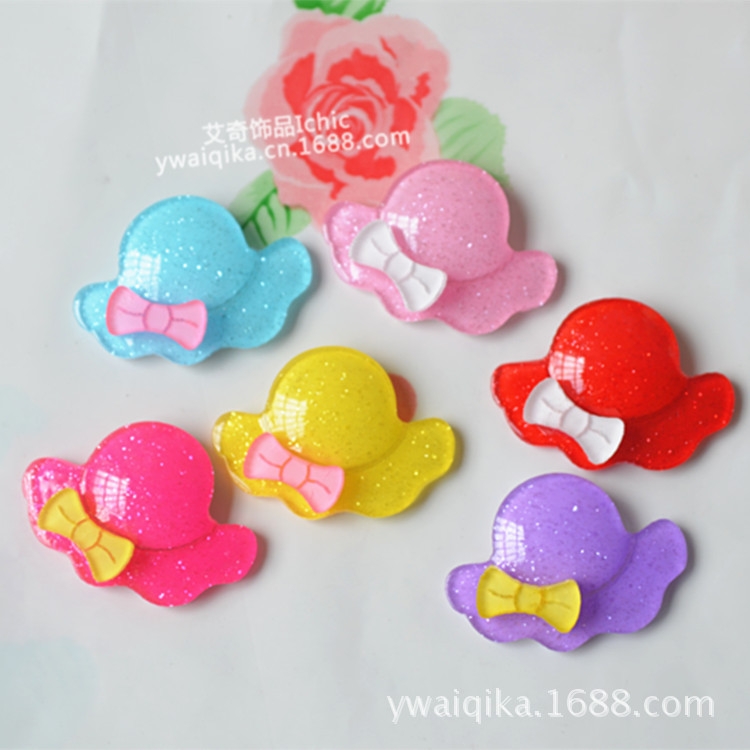 50PCS New cute bow hat acrylic hat accessories diy handmade baby headwear hair jewelry materials(China (Mainland))