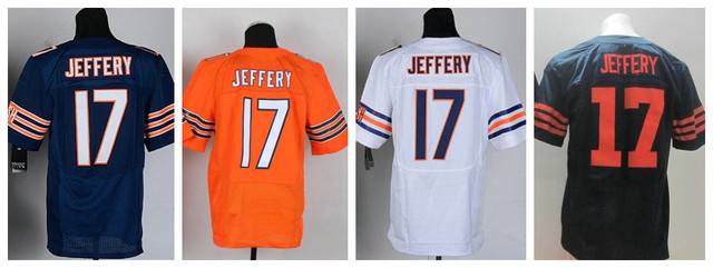 American Football Jerseys Chicago Elite  Alshon Jeffery Jersey Team color Home Navy orange Blue Road White Stitched Jersey