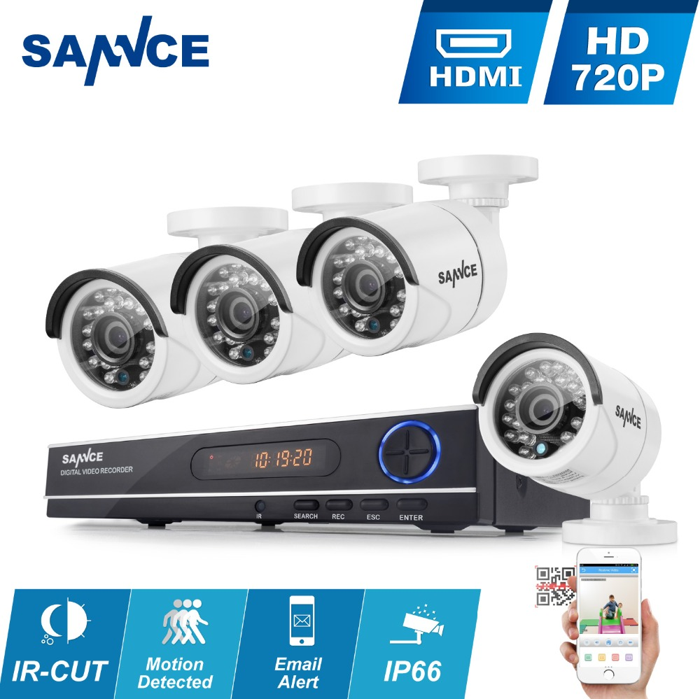 SANNCE CCTV Security System HD 1080N 8CH AHD DVR 4PCS 720P IR outdoor CCTV Camera System 8 Channel Video Surveillance Kit(China (Mainland))