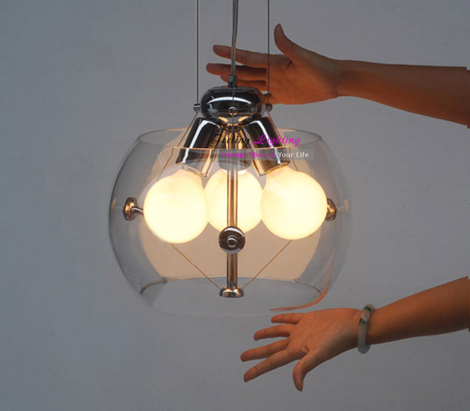 Free Shipping Hot Selling Ball Bulb Clear Glass Pendant Lights Suspension Lamp 3 Light Transparent<br><br>Aliexpress