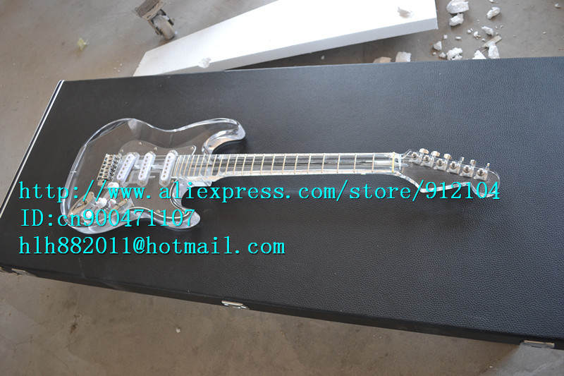free shipping retail new organic glass electric guitar with organic glass body/neck chrome hardware clear F1354+suitcase(China (Mainland))
