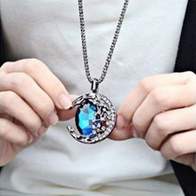 Unisex Fashion Blue Crystal Moon Design Pendant Necklace Long Snake Chain Sweater Hot Movie Series Jewelry - Shenzhen Just For You Factory store