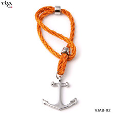 Fashion Men's High Quality Steel Anchor Bracelets Friend Nautical Anchor Sailor Rope Bracelet With Box&Bag Best Friendship Gift(China (Mainland))