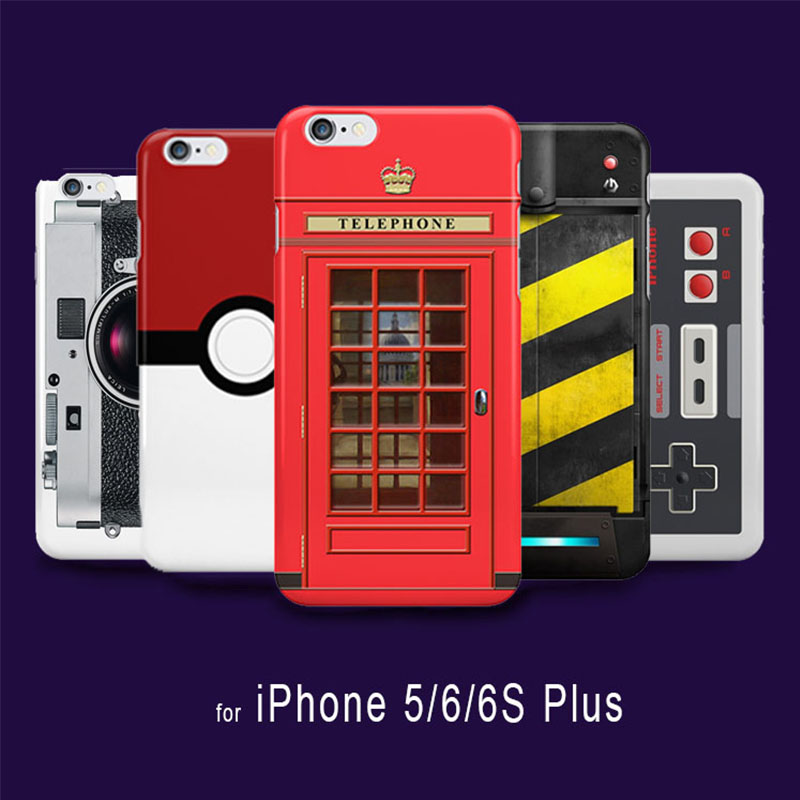 Retro Funny PokeBall Camera Pattern Painted Cover Case for iPhone 6s 6 5S 5 capinhas Game controller British Red Telephone Box(China (Mainland))