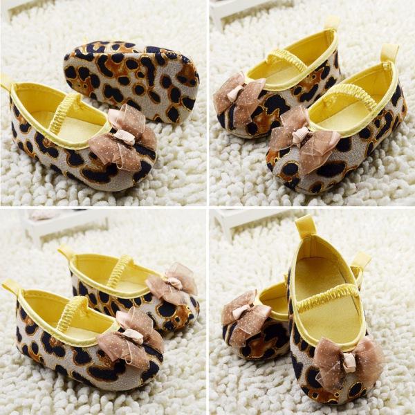 Младенческая Обувь для Девочек Большая Бабочка-узел Обувь Leopard Малышей Обувь Впервые Ходунки Новорожденных обувь для новорожденных