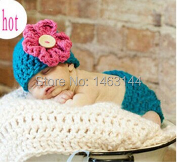 Lovely Baby Infant Crochet Flower Hat Pants Set baby Photo Props Kids Knitted Costumes Photo Props 1set SY 74(China (Mainland))