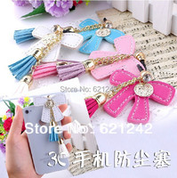 2015Top Fashion Leather Tassels Bowknot Phone Pendant Chain Mobile Phone Dust Plug Cell Phone Jewelry Charms 3.5MM Jack CapXZ551