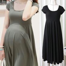 Modo di estate abiti vestiti di maternità per le donne incinte abbigliamento o-collo manica corta 4 colori gravidanza slim vestito da usura 2015(China (Mainland))
