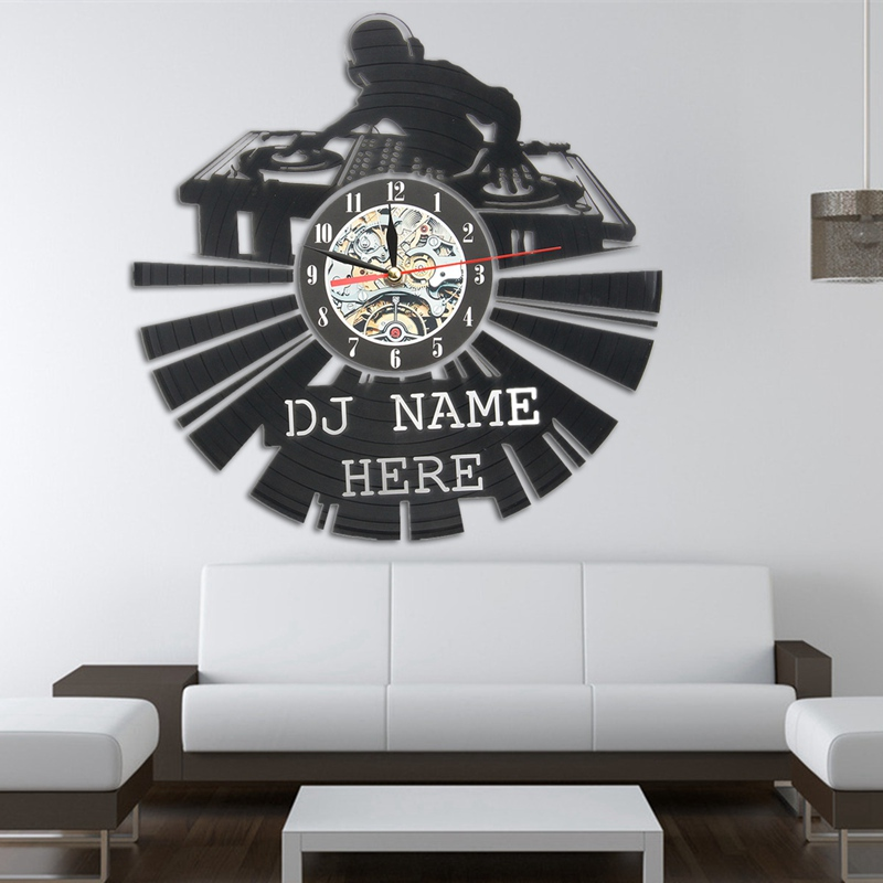 KiWarm Music DJ Design Vinyl Record Hanging Clock Figurines For Home Room Decoration Crafts Ornaments Halloween Christmas Gift