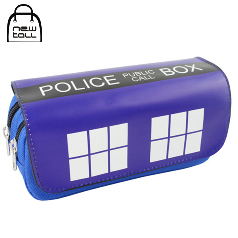 [NEWTALL] Doctor Who Police Box Pencil Case Large Capacity Organizer Wallet Magic Stick Cover Double Zipper Stationery Bag T1399(China (Mainland))