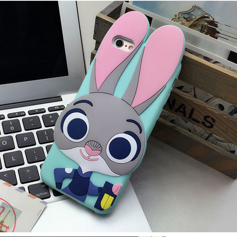 Cute 3D Cartoon Zootopia Judy Bunny Case For Apple iPhone SE Rabbit Silicone Cover(China (Mainland))