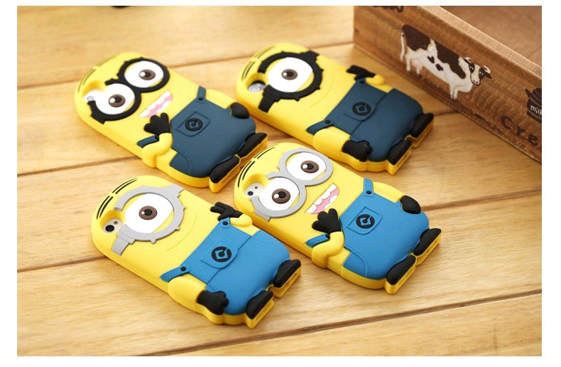 3D Cartoon Cute Phone Case Natural Silicone Despicable Me Yellow Minion Back Cover For iphone 5 5S 5 S Small Yellow People(China (Mainland))