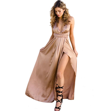 Buy Sexy Strap Satin Backless Women Maxi Dress Slim Deep V Neck Sleeveless Split Bandage Vestidos Summer Beach Party Long Dresses for $15.99 in AliExpress store