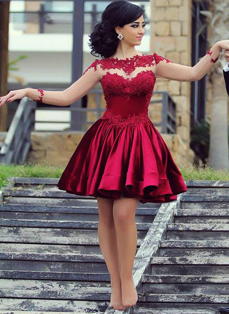 Бордовые короткие платья