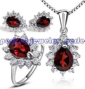 Free shipping Garnet jewelry set Perfect Jewerly Natural garnet earring stud/pendant/ring with 925 silver sets, 1set/jewelry box(China (Mainland))