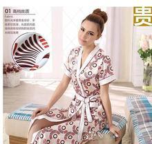 Long Robe Emulation Silk Soft Home Bathrobe Plus Size S-XXXL Nightgown For Women Robes Autunm Spring Summer(China (Mainland))