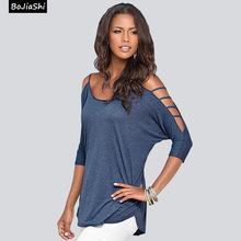 2016 summer fashion sexy girl women Cut out Shoulder T Shirt Casual Loose Tops T-shirt Shirt Solid(China (Mainland))