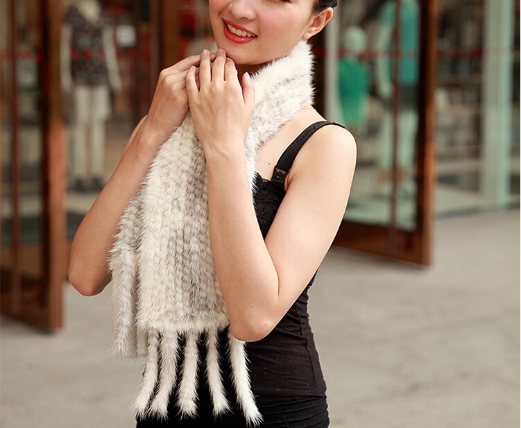 Top quality ladies genuine mink fur scarf knitted fur shawls with tassel for women winter 150cm Neck Warmer Poncho Shawl Stole