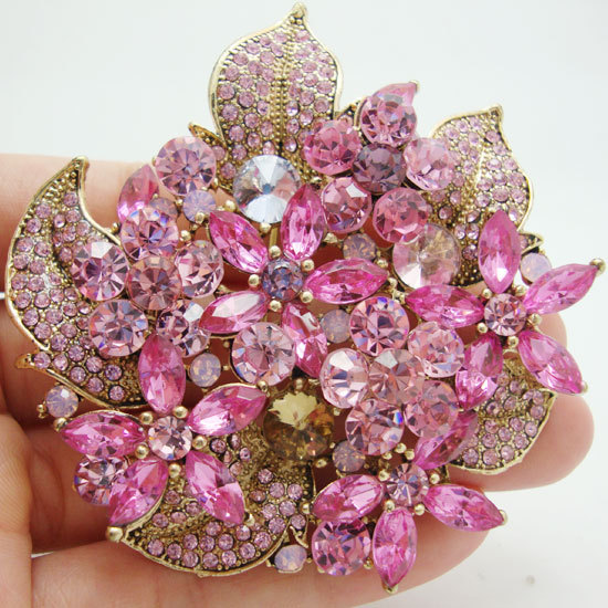 New Summer Fashion Style Flower Cluster Floral Leaf Pendant Pink Rhinestone Crystal Brooch Pin(China (Mainland))