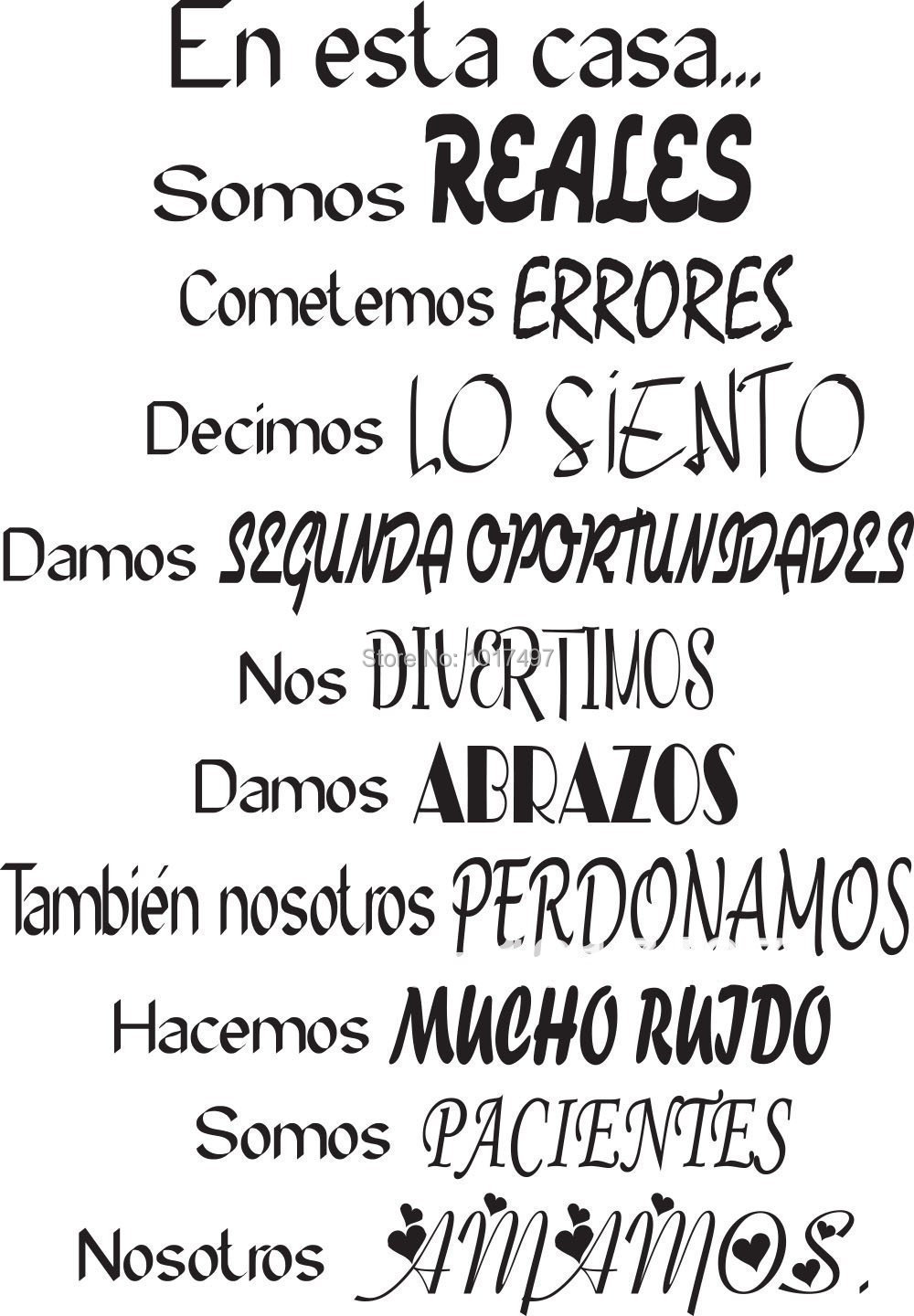 produto free shipping Spanish House Rules Vinyl Wall Decals-En Esta Casa Wall Decal-Home Art Wall Decal Quote Decor-Family Wall Stickers