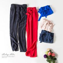 Women Harem pants 100% REAL silk Ankle-length pants Chiffon Solid 2016 New Black Charcoal Green(China (Mainland))