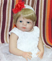 55cm New Full Body Silicone Reborn Baby Doll Toys blond hair girl blue eyes with white