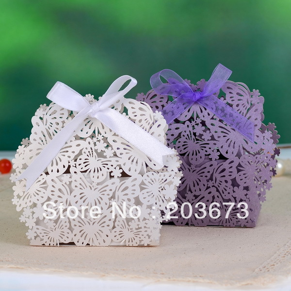 8.5x4.5x9.5cm White and Purple Laser Cut Butterfly and Flower Favor Boxes 120pcs of Lot(China (Mainland))