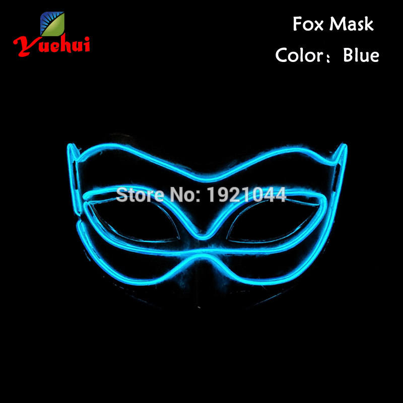 2016 Hot Sales Fashion Glowing Christmas LED Neon light Cosplay EL wire Mask Halloween Mask Powered by AA Batteries(China (Mainland))