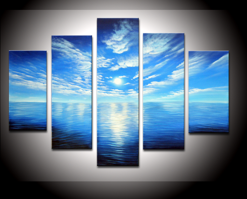 100% Hand painted hot sea White clouds blue sky abstract landscape Oil Painting canvas5pcs/set wood Framed(China (Mainland))