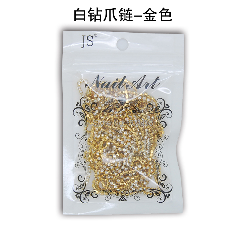 Cheapest Golden Metal Claw Cup Round Clear Rhinestone Crystal Beads Chain Line DIY Design Nail Art Trim Craft Accessories(China (Mainland))