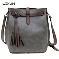 LIXUN New Women Leather Handbags For Woman Fashion Designer Black Bucket Vintage Messenger Shoulder Bags Ladies