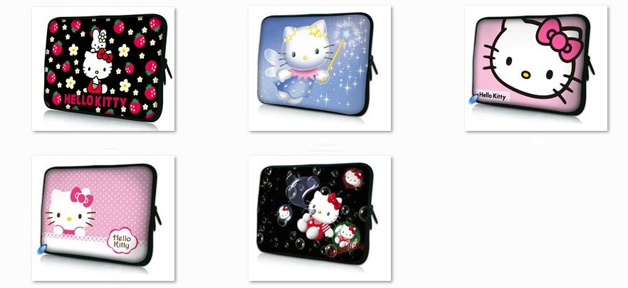 "Free Shipping Hello Kitty 10"" 12'' 13'' 14'' 15'' 17'' Soft Neoprene Laptop Notebook Tablet Sleeve Bag Case Cover Pouch + Handle(China (Mainland))"