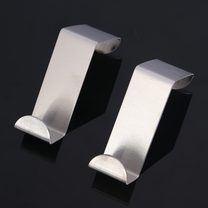 2015 2PCS Stainless Over Door Hooks Kitchen Cabinet Draw Towel Clothes Pothook Can Carry(China (Mainland))