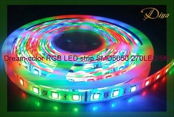 5M/Reel 270LEDs IP65 Epoxy-waterproof Intelligent Multi-color RGB LED strip SMD5050 +1PC controller