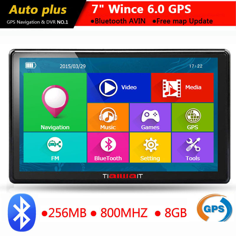 7 inch Car GPS navigatIon navigator bluetooth avin 256MB 800Mhz 8GB Full Europe/USA/ Russia navitel Sat Nav Truck vehicle gps(China (Mainland))