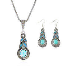 Fashion Jewelry Sets Tibetan Turquoise Chain Necklace & Pendants Silver Plated Water Drop Shaped Stud Earrings Women Collar(China (Mainland))