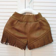 wholesale(5pcs/lot)- 2016 AUTUMN winter fringed suede velvet boots shorts for child girl(China (Mainland))