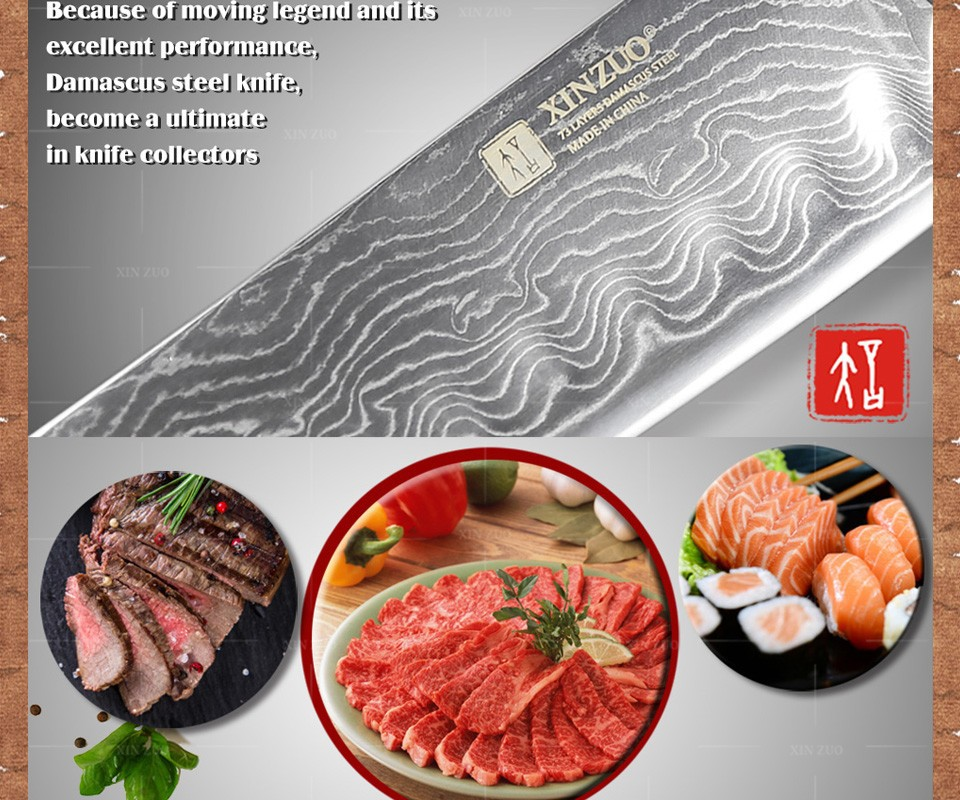 "Buy 7"" inches chef knife Japanese VG10 Damascus steel kitchen chef knife santoku knife wholesale  forged wooden handle FREE SHIPPING cheap"