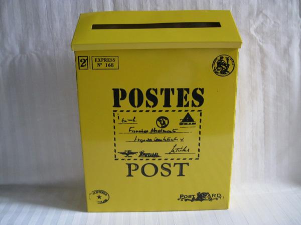 acheter jaune fer mail mode de bo te aux lettres bo tes seau tin vintage de. Black Bedroom Furniture Sets. Home Design Ideas