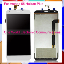 Black White For Archos 55 Helium Plus Phone Full LCD Screen Display Digitizer With Touch Screen Complete Assembly Tracking Code(China (Mainland))
