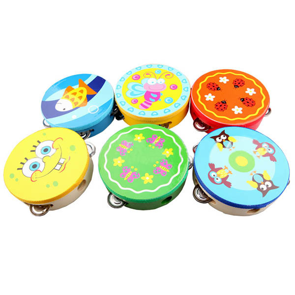 Baby Colorful Musical Toys Drum Rattles Toy Tambourine Wooden Toys Kids Gift FREE SHIPPING(China (Mainland))